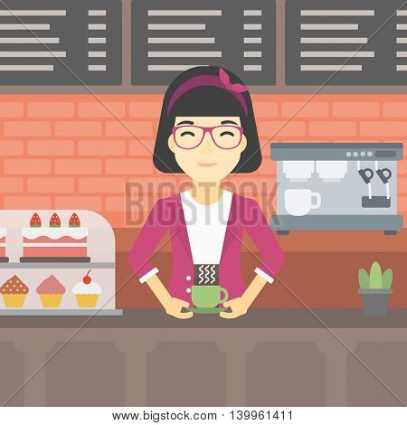 An asian young woman standing at the counter with cup of coffee on the background of bakery with pastry and coffee maker. Woman making coffee. Vector flat design illustration. Square layout.