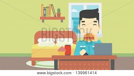 An asian young man working on laptop while eating junk food on the background of bedroom. Vector flat design illustration. Horizontal layout.