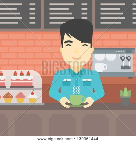 An asian young man standing at the counter with cup of coffee on the background of bakery with pastry and coffee maker. Man making coffee. Vector flat design illustration. Square layout.