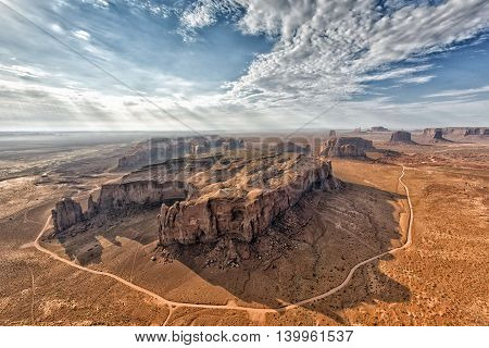 Monument Valley aerial sky view from balloon