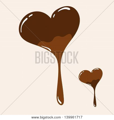 Vector chocolate heart with melting effect. Two variants of chocolate heart concept. Tasty chocolate icons for various use.