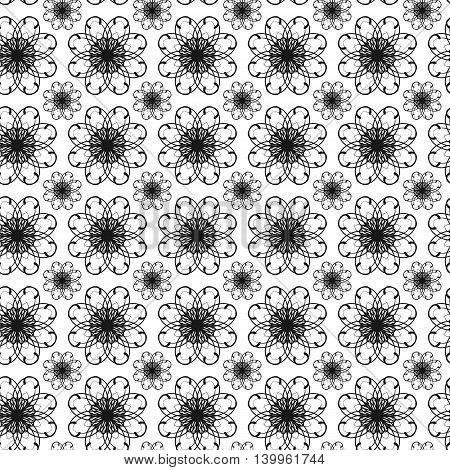 Vector Seamless pattern with circular ornaments in different size. Classic pattern on white background. Seamless pattern template for various use.
