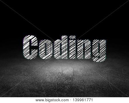 Software concept: Glowing text Coding in grunge dark room with Dirty Floor, black background