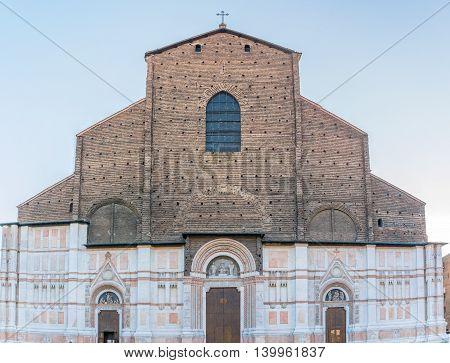 Bologna, Italy - December 27, 2015: Basilica di San Petronio in Bologna Italy. The Basilica of San Petronio is the main church of Bologna.