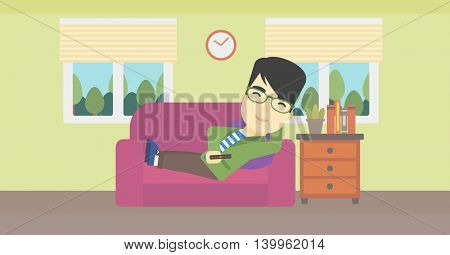 An asian young man lying on a sofa and watching tv with a remote control in his hand. Vector flat design illustration. Horizontal layout.