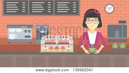 An asian young woman standing at the counter with cup of coffee on the background of bakery with pastry and coffee maker. Woman making coffee. Vector flat design illustration. Horizontal layout.