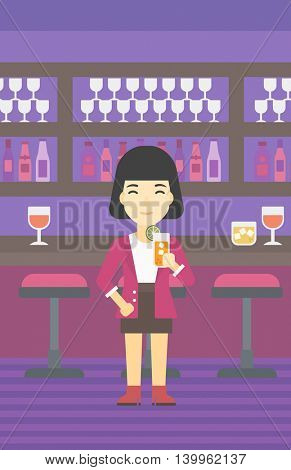 An asian joyful woman with an orange cocktail. Woman drinking an orange cocktail at bar. Woman celebrating at bar with an orange cocktail. Vector flat design illustration. Vertical layout.