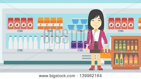 An asian young woman standing in alcohol store. Woman holding pack of beer at supermarket. Woman standing at alcohol section. Vector flat design illustration. Horizontal layout.