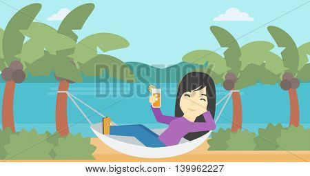 An asian young woman chilling in hammock on the beach with a cocktail in a hand vector flat design illustration. Horizontal layout.