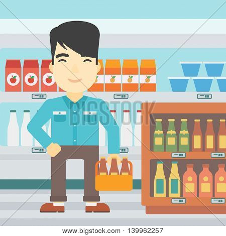 An asian man standing in alcohol store. Man holding pack of beer at supermarket. Man standing at alcohol section. Vector flat design illustration. Square layout.