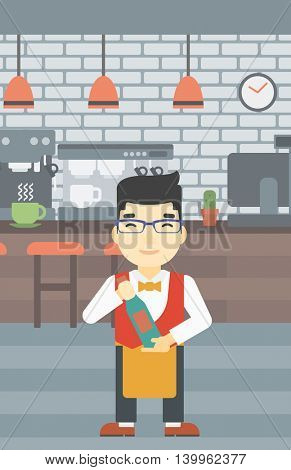 An asian young waiter holding a bottle in hands on the background of a cafe. Vector flat design illustration. Vertical layout.