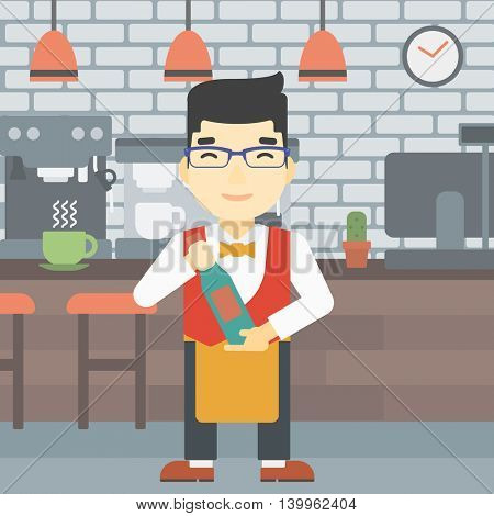 An asian young waiter holding a bottle in hands on the background of a cafe. Vector flat design illustration. Square layout.