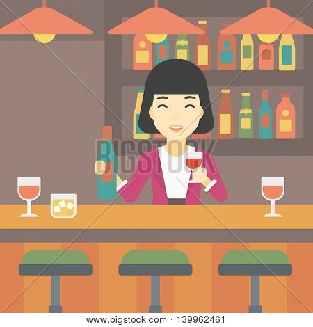 An asian female bartender standing at the bar counter. Female bartender with a bottle and a glass in hands. Female bartender at work. Vector flat design illustration. Square layout.