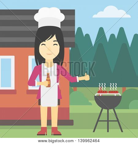 An asian woman with bottle in hand cooking meat on gas barbecue grill in the backyard and giving thumb up. Woman cooking meat on barbecue. Vector flat design illustration. Square layout.