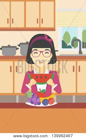 An asian woman eating watermelon in front of table full of fresh fruits. Smiling young woman holding a slice of watermelon in the kitchen. Vector flat design illustration. Vertical layout.
