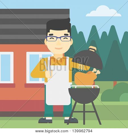 An asian man cooking chicken on barbecue grill in the backyard. Man having a barbecue party. Man preparing chicken on grill. Vector flat design illustration. Square layout.