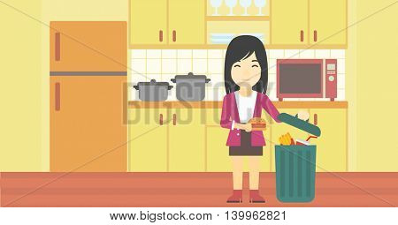 An asian woman putting junk food into trash bin. Woman refusing to eat junk food. Woman throwing junk food on the background of kitchen. Diet concept. Vector flat design illustration. Horizontal