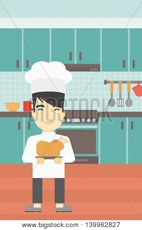 An asian chief cooker holding roasted chicken in the kitchen. Chief cooker with whole baked chicken. Chief cooker with fried chicken. Vector flat design illustration. Vertical layout.
