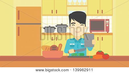 An asian man cutting vegetables for salad. Man following recipe for salad on digital tablet. Man cooking vegetable salad in the kitchen. Vector flat design illustration. Horizontal layout.