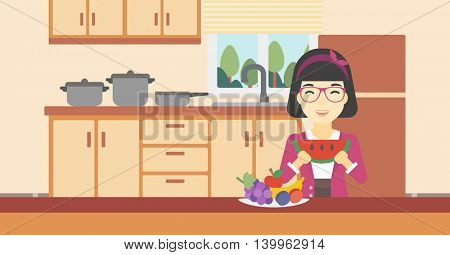 An asian woman eating watermelon in front of table full of fresh fruits. Smiling young woman holding a slice of watermelon in the kitchen. Vector flat design illustration. Horizontal layout.