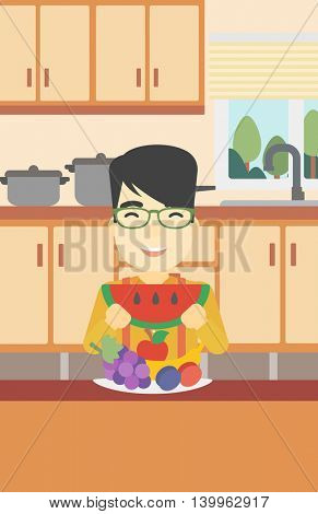 An asian man eating watermelon in front of table full of fresh fruits. Smiling young man holding a slice of watermelon in the kitchen. Vector flat design illustration. Vertical layout.