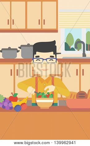 An asian young man cooking vegetable salad on the background of kitchen. Smiling man adding spices in salad. Vector flat design illustration. Vertical layout.