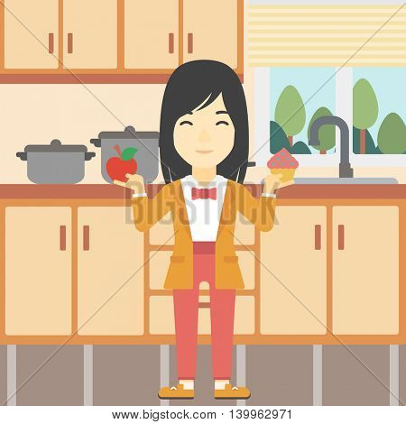 An asian young woman standing with apple and cupcake in hands in the kitchen. Woman choosing between apple and cupcake. Dieting concept. Vector flat design illustration. Square layout.