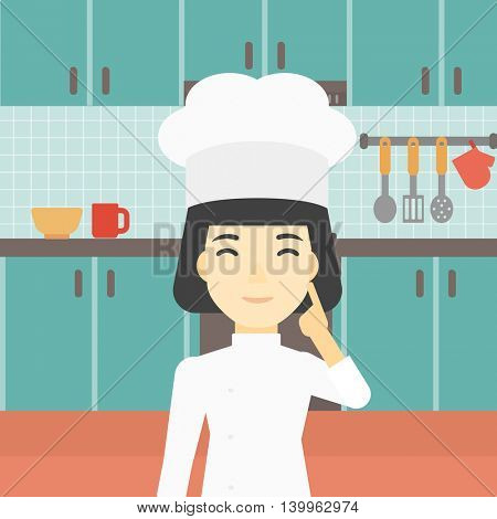 An asian chief-cooker in uniform standing in the kitchen and pointing forefinger up. Chef thinking about the recipe. Chef having an idea. Vector flat design illustration. Square layout.