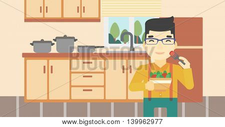 An asian man eating healthy vegetable salad. Young man eating fresh vegetable salad at home. Man holding bowl full of salad in the kitchen. Vector flat design illustration. Horizontal layout.