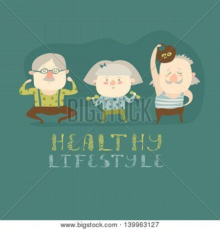 Elderly people doing exercises. Vector flat cartoon illustration