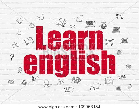 Learning concept: Painted red text Learn English on White Brick wall background with  Hand Drawn Education Icons