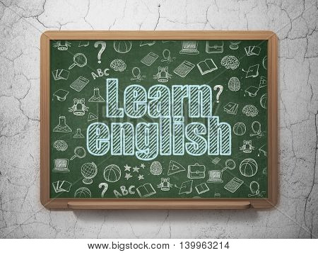Learning concept: Chalk Blue text Learn English on School board background with  Hand Drawn Education Icons, 3D Rendering