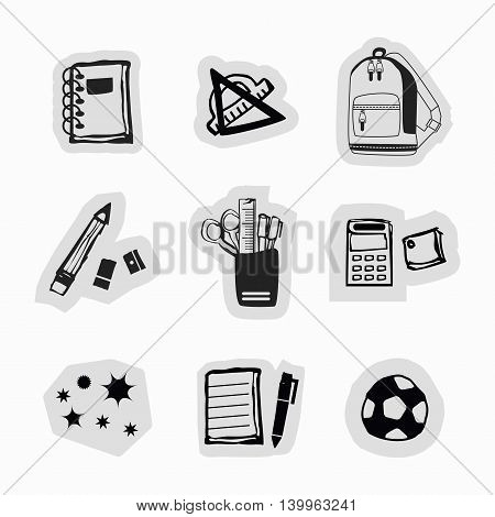 Inky black hand drawn school supplies and stationery stickers icons set on white background
