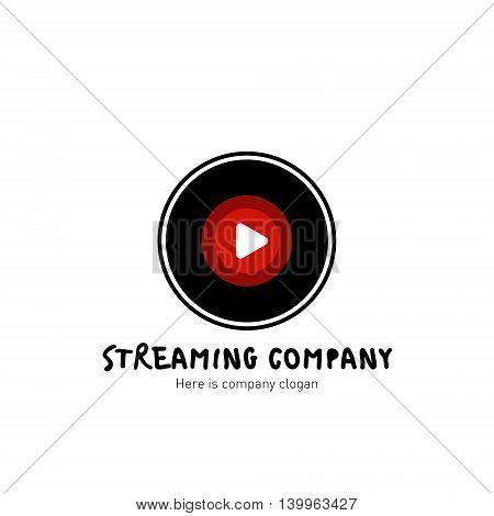 Streaming company logo. Vinyl record icon. Vector Illustration