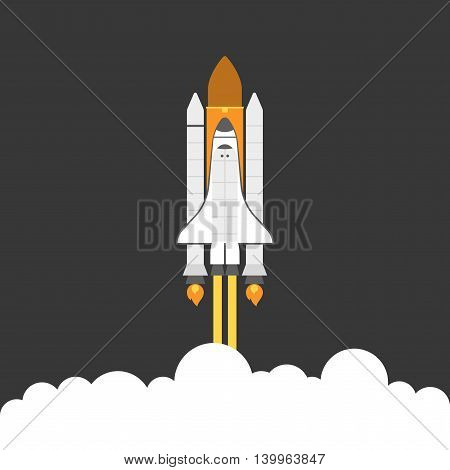 space shuttle with rocker and smoke , flat design