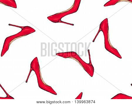 Red shoes pattern. High heels women footwear background. Doodle female pump shoe. Pencil effect vector texture for clothes fabric. Trendy fashion poster.