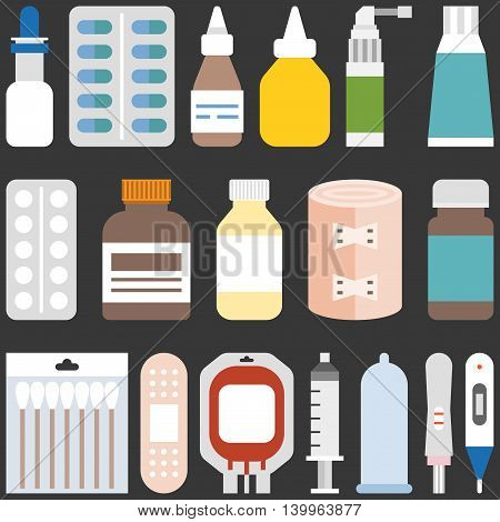 Medicine collection set 1. Bottles, tablets, capsules, sprays and equipment, flat design