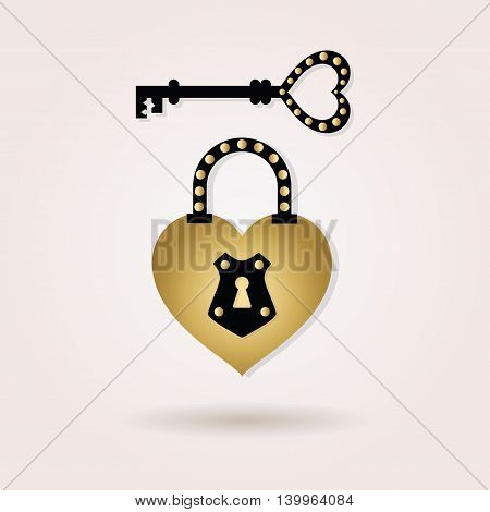 Black and golden abstract heart shape padlock and a key icons on pink gradient background