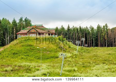 wooden buildings on the banks of the Volga River in the city of Ples Russia