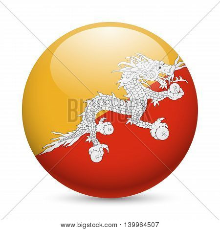 Flag of Bhutan as round glossy icon. Button with Bhutanese flag