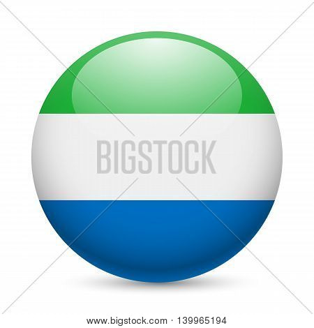 Flag of Sierra Leone as round glossy icon. Button with flag colors