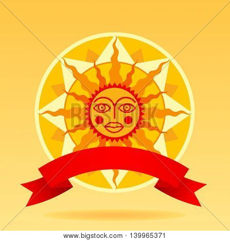Cartoon decorative sun with red ribbon. Contains the Clipping Path