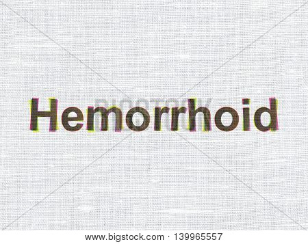 Health concept: CMYK Hemorrhoid on linen fabric texture background