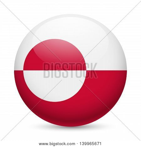 Flag of Greenland as round glossy icon. Button with flag design