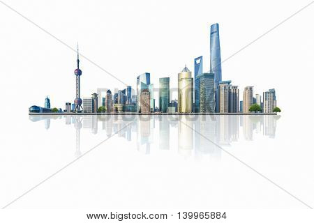 shanghai cityscape and skyline with white background,china.
