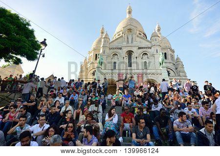 PARIS FRANCE 7 JUNE 2015: Large crowd outside sacre coeur Paris