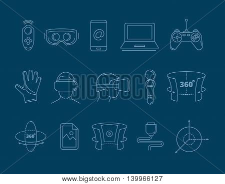 set of linear icons virtual reality accessories. 360 degree view. Rotation arrows. Gloves and helmet. Illustrations isolate on dark background