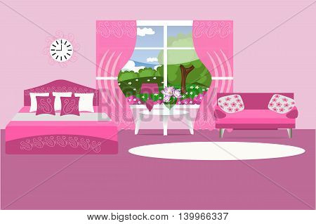 Bedroom interior, pink, bed, sofa, pillow, bouquet, table, lamp, curtains, carpet, room