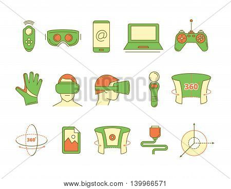 set of color linear icons virtual reality accessories. 360 degree view. Rotation arrows. Gloves and helmet. Illustrations isolate on white background