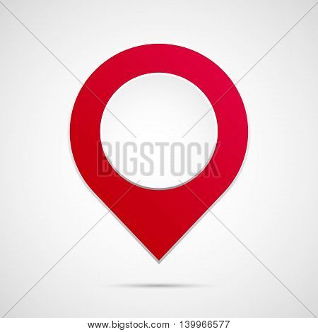 Red map pointer isolated vector symbol on gradient background